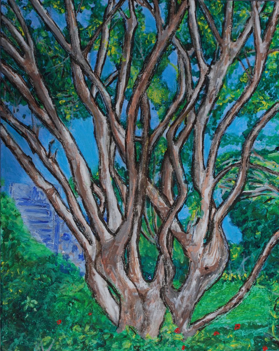 Drawing of complex tree branches with a blue cityscape background.
