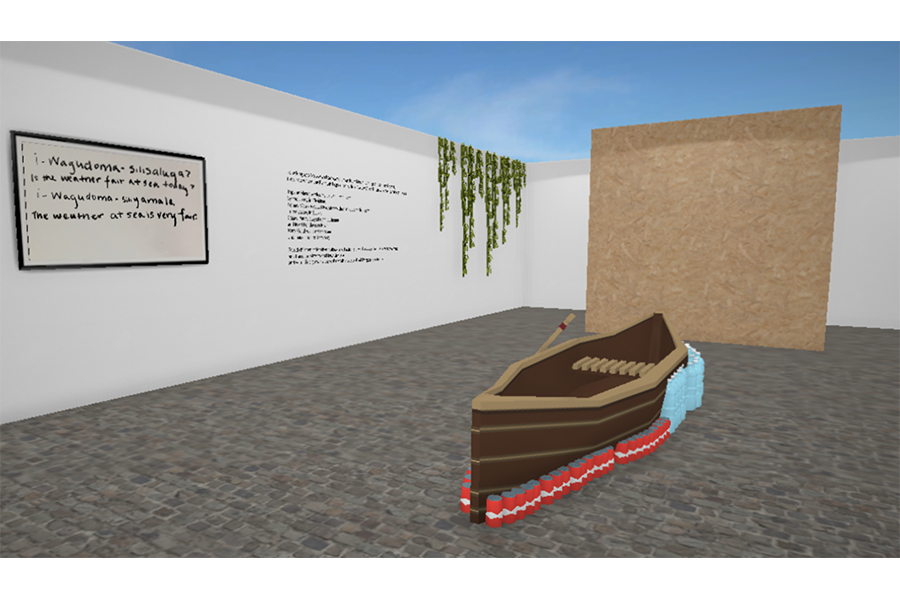A white wall with framed text in the fictional language of Wayo Wayo, translated in English. To the right, text on the wall transcribing a Pangcah song. Ivy is draped over the wall as well. In the middle of this room there is a large canoe that is lined with soda cans and plastic water bottles.