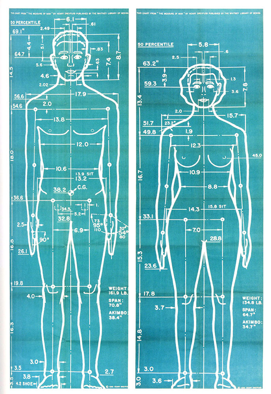 "White drawing on blue background depict anatomical models of male and female bodies, marked ""50th percentile,"" labeled with extensive body measurements"