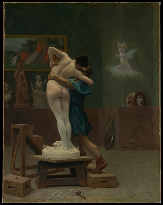 The sculpture of Galatea comes alive: A nude sculpture, seen from the back, embraces the sculptor in his studio
