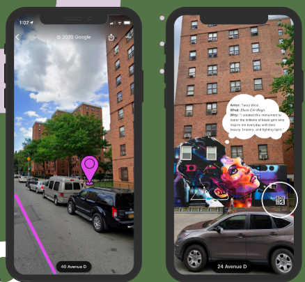 Rendering of two smartphones; the first shows a still from a map in street-view; the second an image of a mural on a brick building