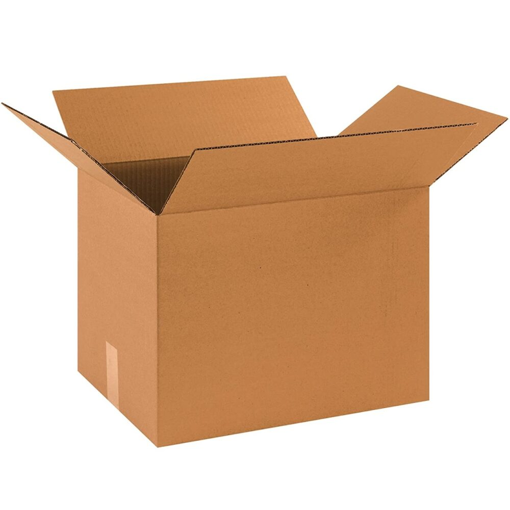 A cardboard box, open at top
