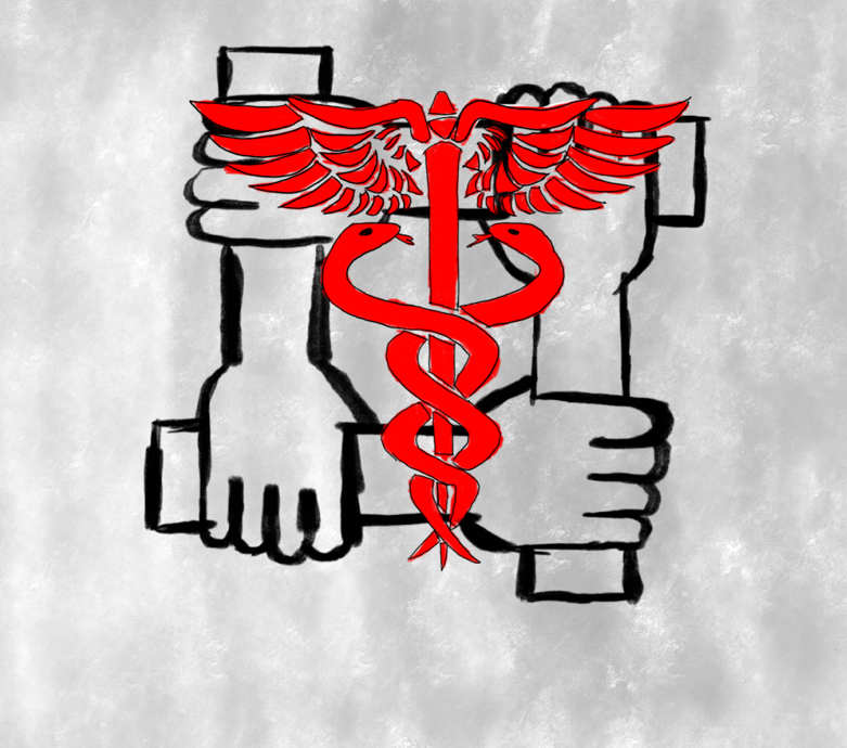 Square at which each corner a hand grasps the forearm that becomes the adjacent side; the rod of Aesculapius is superimposed over the center in red