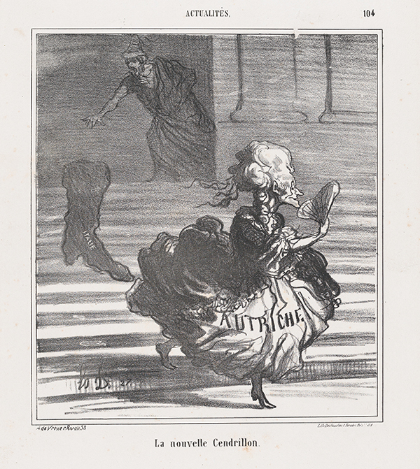 "Political newspaper illustration shows cinderella descending the stairs; across the skirt of her dress is written ""L'Autriche,"" and the train says ""Italie""; the prince watches from the door, reaching out to her"