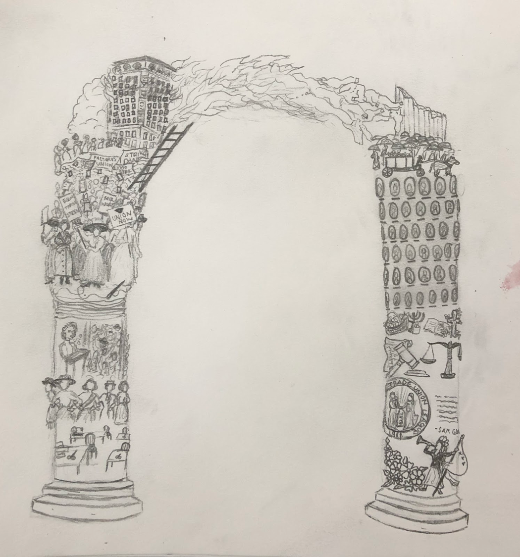 Drawing of an arch with detailed inscriptions on both columns; flames comprise the top of the arch