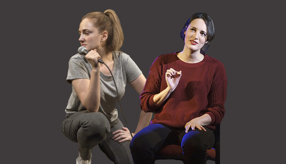 Collage of two women (Jacqueline Novack and Phoebe Waller-Bridge) performing on stage.