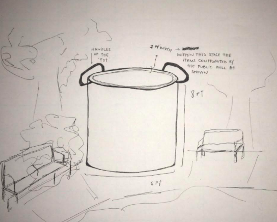 Sketch of a sculpture depicting a giant pot, situated between two park benches