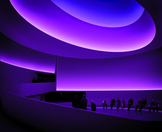 James Turrell's Aten Reign, an installation characterized by shades of purple light.
