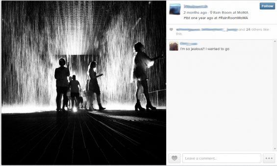 Instagram image of the Rain Roam at MoMA