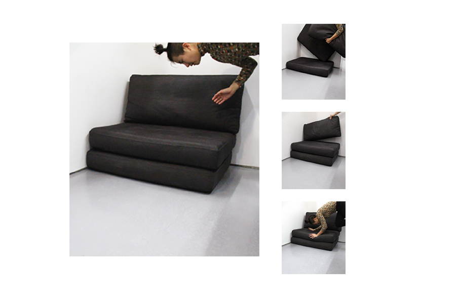 Black denim cushions from couch.