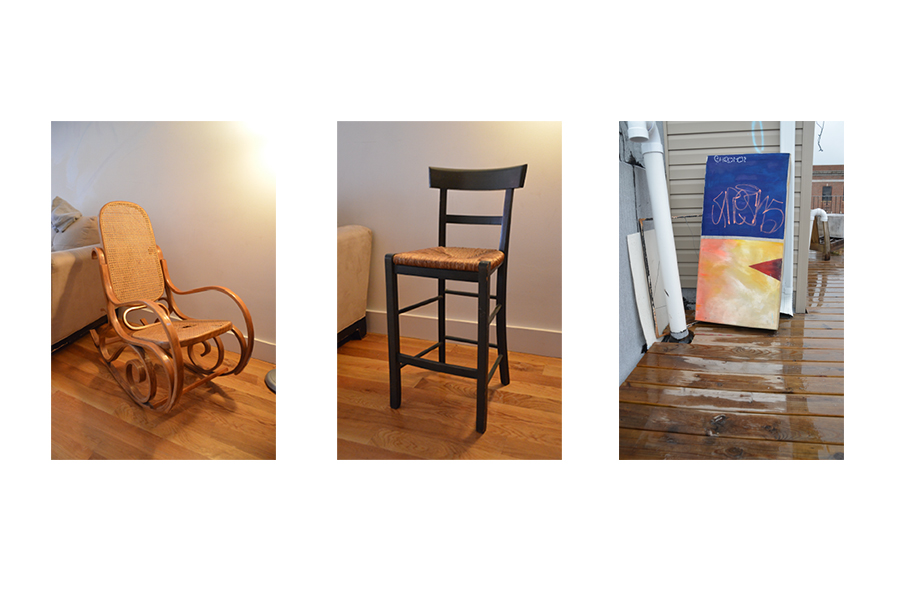 A wicker back wooden rocking chair; chair/stool with woven rush seat, and a painting on canvas stretched over a window frame
