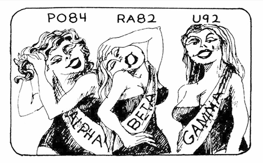 """Line drawing of three busty women wearing sashes """"Alpha,"""" """"Beta,"""" and """"Gamma"""" and labeled """"PO84,"""" """"RA82,"""" and """"U92."""""""