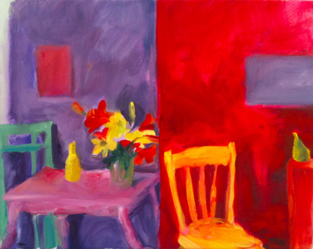 Colorful painting in purples, reds, yellows, and blue-greens, showing a table on which rests a bottle and a bouquet of flowers and two chairs; one chair faces away from the table, out toward the viewer