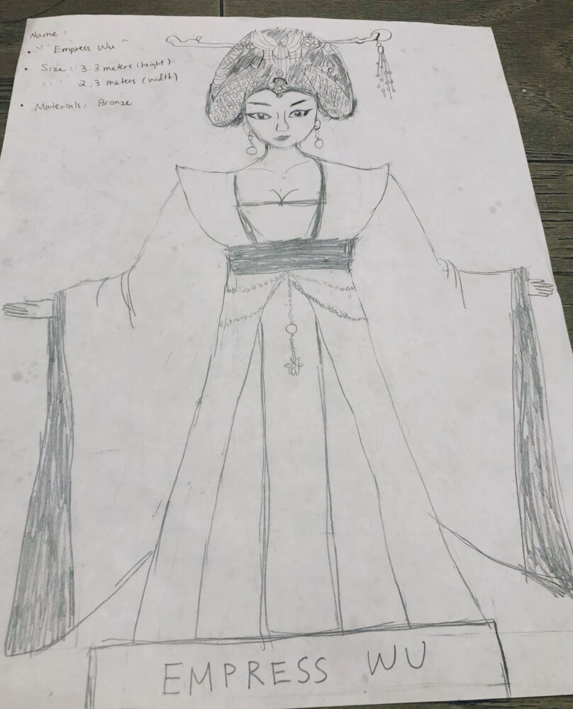 Sketch of a large female figure in royal robes, arms outstretched
