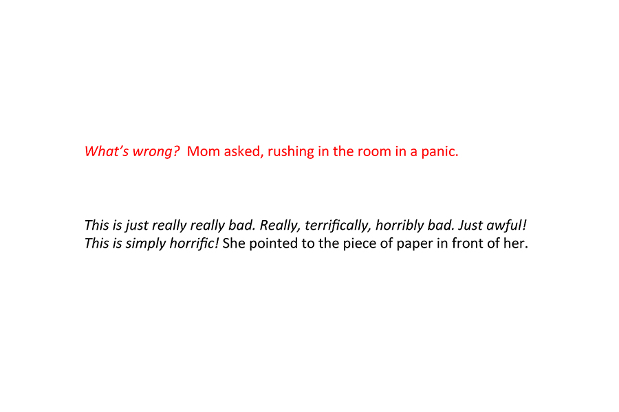Mom rushes into the room and the child tells her something is wrong (text in description).