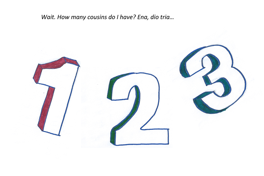 Large graphics of the numbers 1, 2 and 3, questioning how many cousins she has.  (text in description)