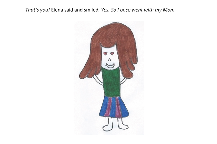 Drawing of Elena as she begins again, stating that she went once with her mom.