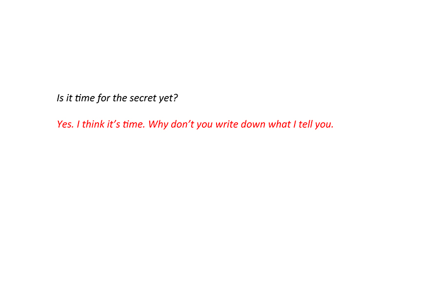 Elena asks her Mom if it's time for the secret (text in description).