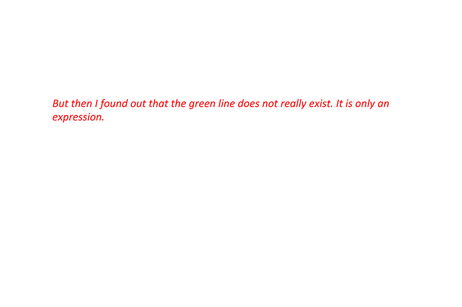 But then I found out that the green line does not really exist. It is only an expression.