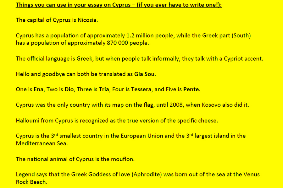 Facts about Cyprus listed on bright yellow background.