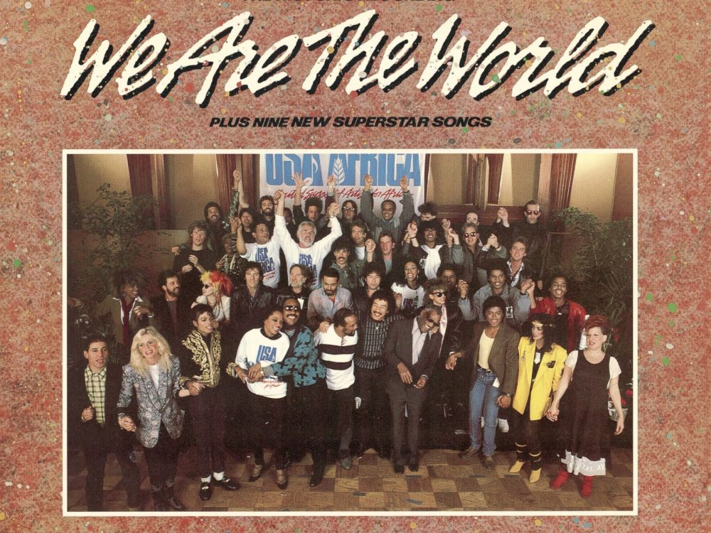 "The ""We Are the World"" album cover: featuring Michael Jackson, Stevie Wonder, Ray Charles, Tina Turner, Quincy Jones, Bruce Springsteen, Bob Dylan, Cydni Lauper, among other popular music artists in the 1980s. Arguably the most significant unifying of popular music artists to have ever occurred."