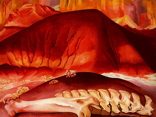 "Detail from Georgia O'Keeffe's ""Red Hills and Bones,"" 1941."