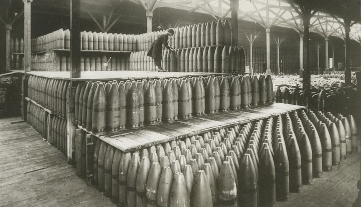 Woman handling nine-inch shells
