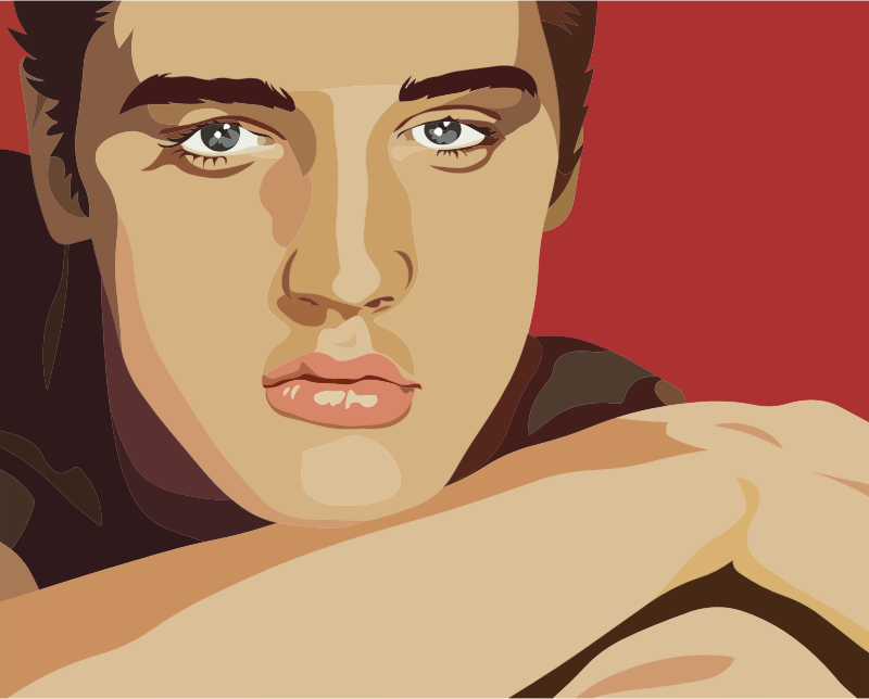 Digital drawing of Elvis Presley as a young man, showing him closeup, chin rested on folded arms, looking straight at the viewer