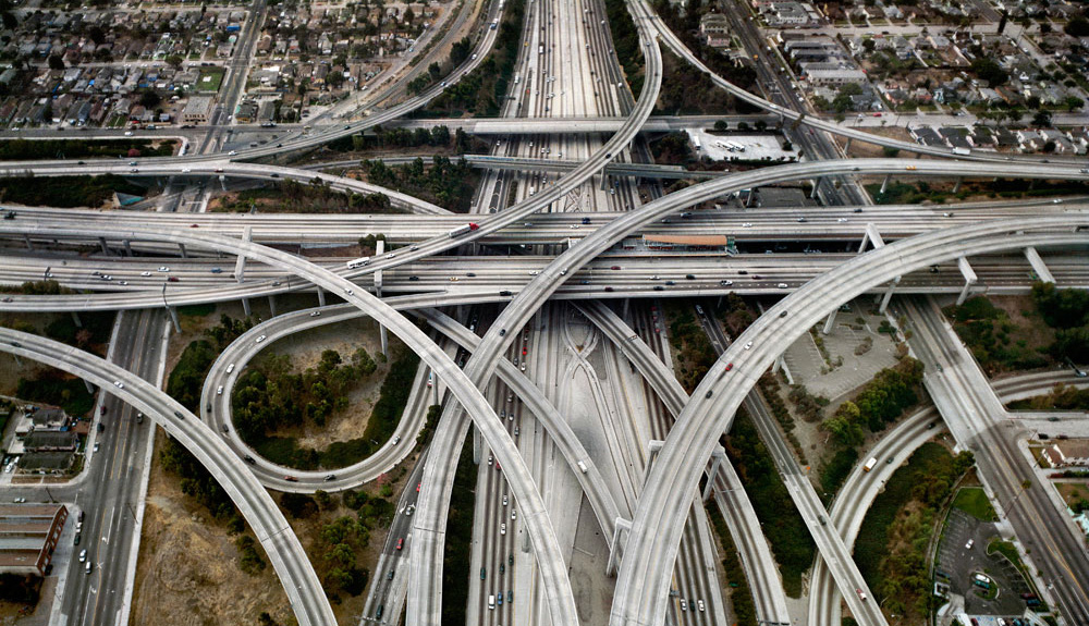 Web of overlapping freeways.