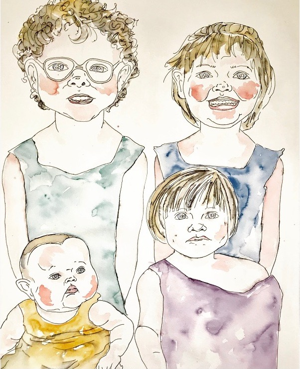 A drawing of four children: two older in back; in front: one younger girl, and one baby.
