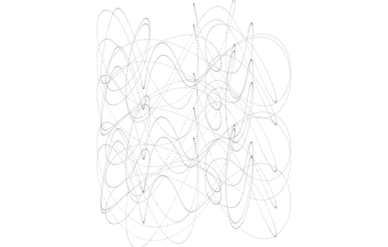 Vertical line drawing of horizontal squiggly lines.