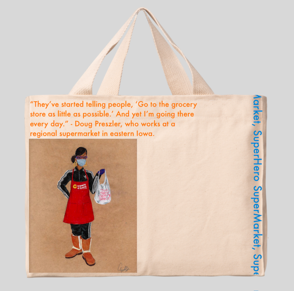 Canvas tote bag featuring the image of a grocery store employee in C-Town apron, Ugg Boots, and surgical mask, holding out a full plastic bag