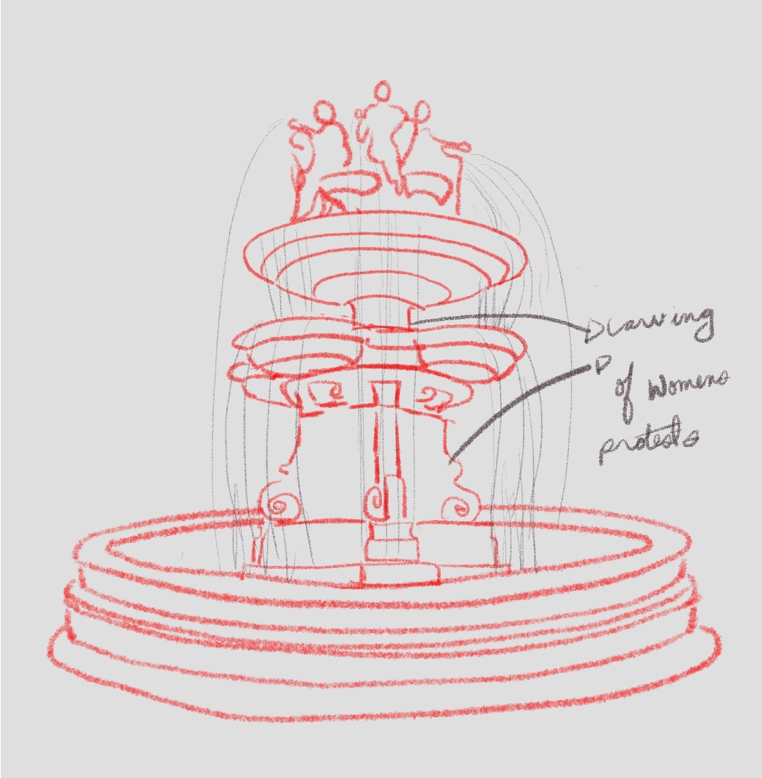Drawing of a three-tiered fountain