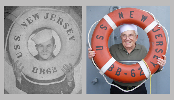 Jerry Gray aboard the U.S.S. New Jersey as shown in The Star Ledger in 1947, side by side with Jerry Gray aboard the U.S.S. New Jersey on his 80th birthday in 2007.