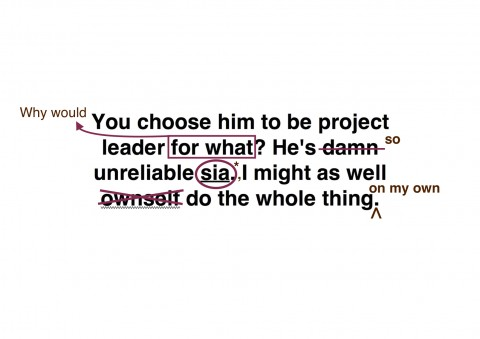 "Text with edits, initially saying ""You choose him to be project leader for what? He's damn unreliable sia. I might as well ownself do the whole thing."" Edited to say ""Why would you choose him to be project leader? He's so unreliable. I might as well do the whole thing on my own."""