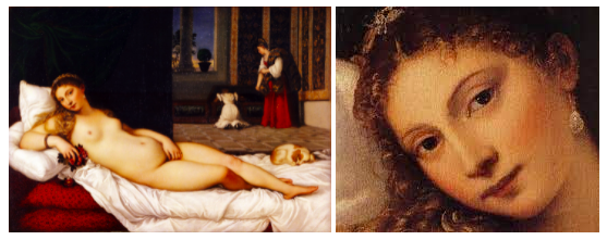 A female nude subject lies on her side as she stares at her assumed viewer, seemingly unaware of the two subjects behind her.