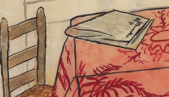 Drawing of a chair and table with a newspaper on it.