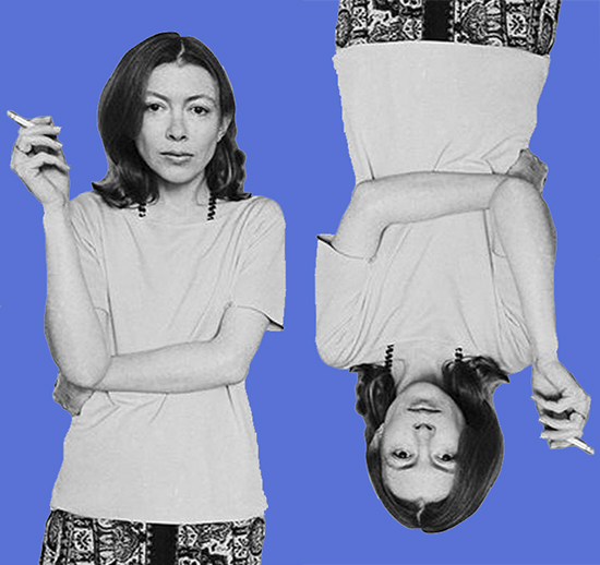 Joan Didion, looking at the camera with cigarette in hand, photoshopped twice onto an indigo backgrond (once upside down)