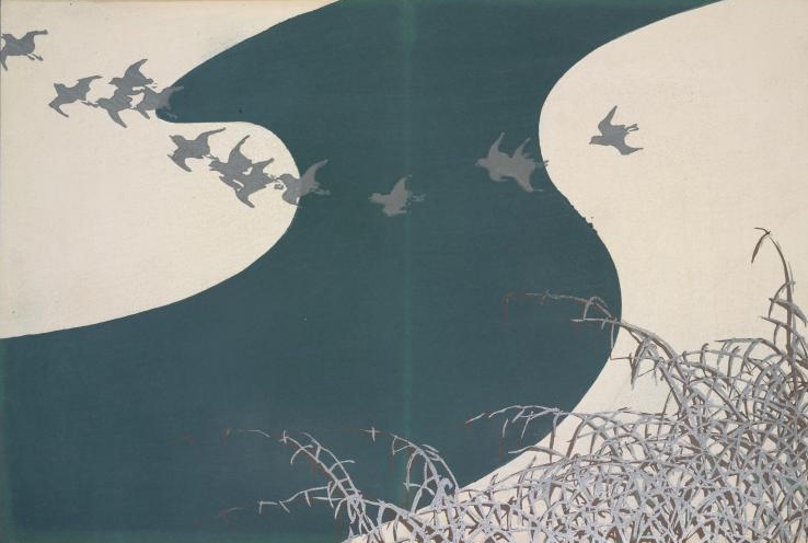 Woodcut in which a dark-blue river winds across a white bank; a flock of gray birds cross the river in a curved line, and there are grey reeds at the bottom-right corner
