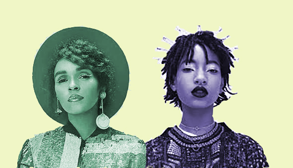 collage showing monochrome images of Janelle Monáe and Willow Smith