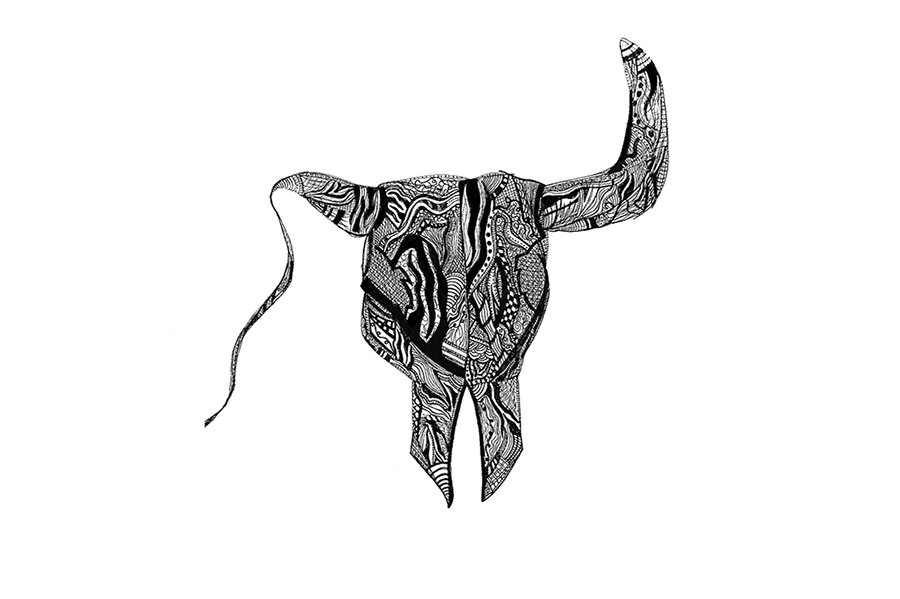 Longhorn head with one withering horn, filled in with abstracted design.