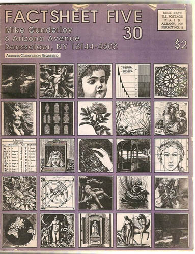 """A cover of """"Factsheet Five"""" selling for $2; the cover has multiple squares of drawings, including a doll, Greek statue, mandala, and Earth among others."""