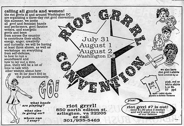 """Newspaper clipping advertising a """"Riot Grrl"""" convention, where women who read the zine can come together for three days around different zine- and punk-related events."""