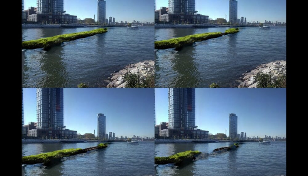Four-paneled image, each pane shows the same shot of the each river, with a rendering of a land bridge in a distinct state of development and decay in each panel