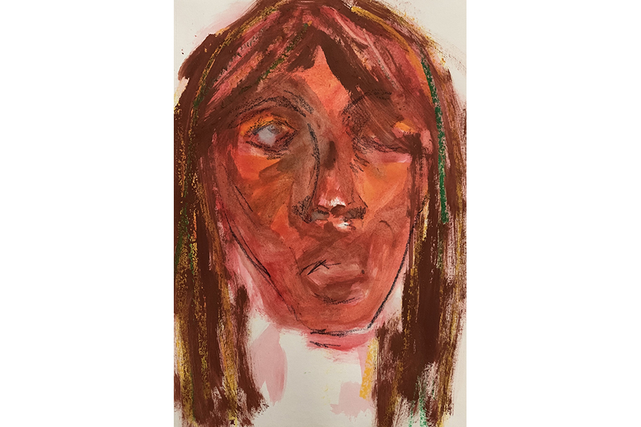 Girl's face painted in red gouache, partially outlined in charcoal, hair as streaks of brown gouache and green and yellow oil pastel