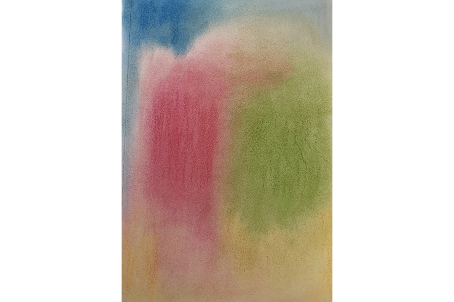 Painting: A blue splotch of color in the top left corner fades across the top and into green and pink fields of color that take up the center of the canvas. All colors fade into a calm yellow that stretches across the canvas