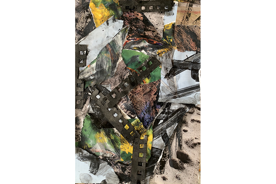 Collage: scraps of newspaper, magazines, books, and notebook paper glued together and covered in splashes and markings of ink