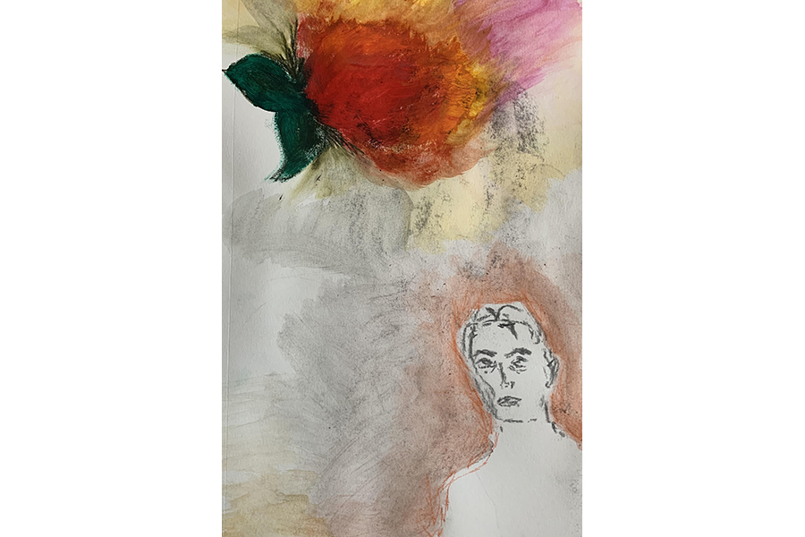 Mixed media image showing a bright tomato at the top of the canvas, floating above an androgynous figure in the bottom right.