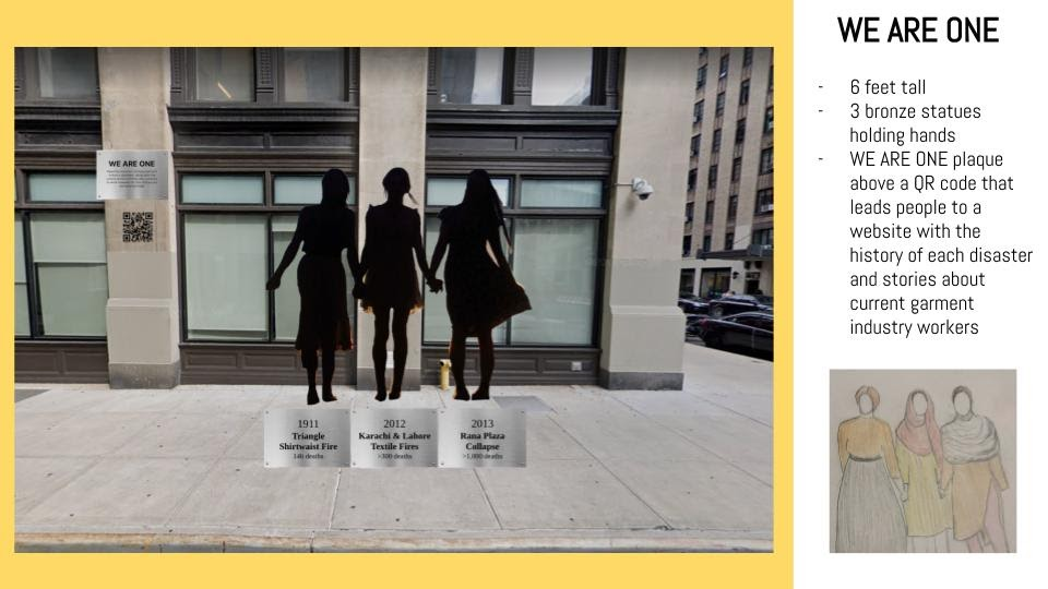 A sculpture featuring three women holding hands stands on a New York City street corner