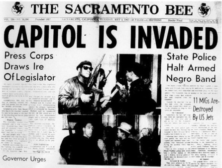 """The front page of """"The Sacramento Bee"""" with the headline """"Capitol is Invaded"""""""